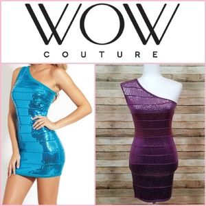 WOW Couture One Shoulder Bodycon Sequin Dress